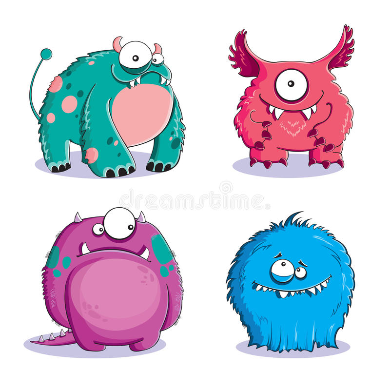 Monsters. Four funny furry monsters on white background