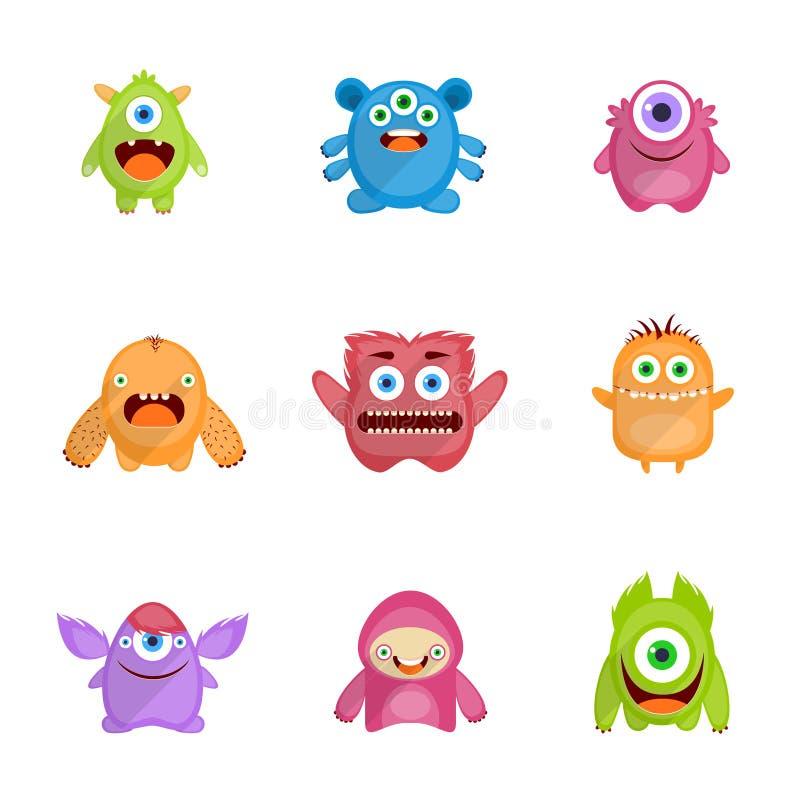 Monsters Geplaatst Vlak vector illustratie