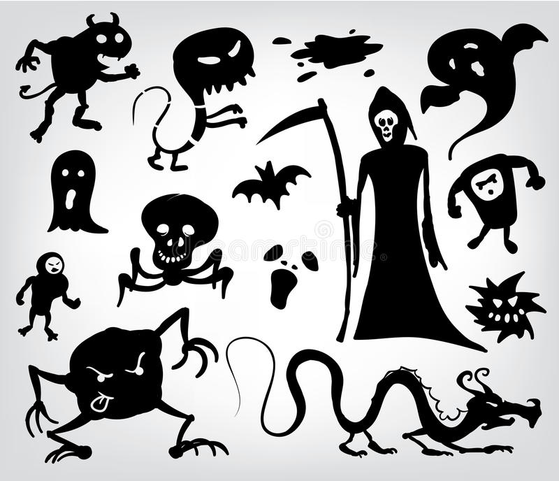 Download Monsters, Ghosts And The Grim Reaper Stock Vector - Image: 22303197