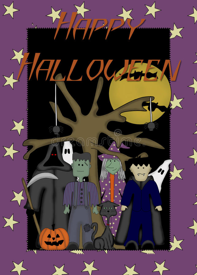 Download Monsters & Ghosts Happy Halloween Background Stock Illustration - Image: 11185137