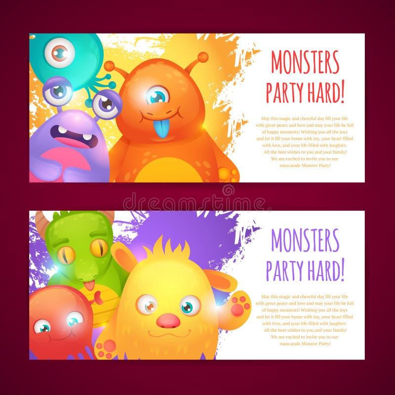 Monsters horizontale banners stock illustratie