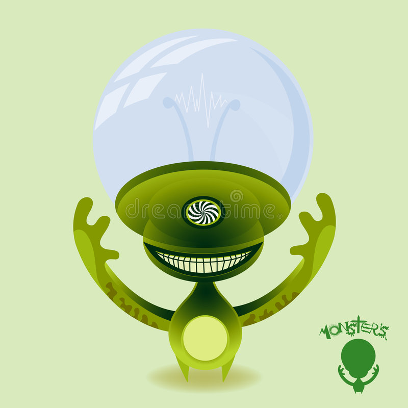 Download Monsters - Hypnotic Green Alien Stock Illustration - Illustration: 9234302