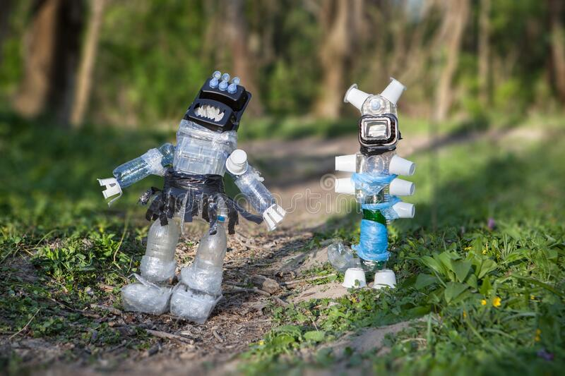 Monsters made of plastic waste royalty free stock photography