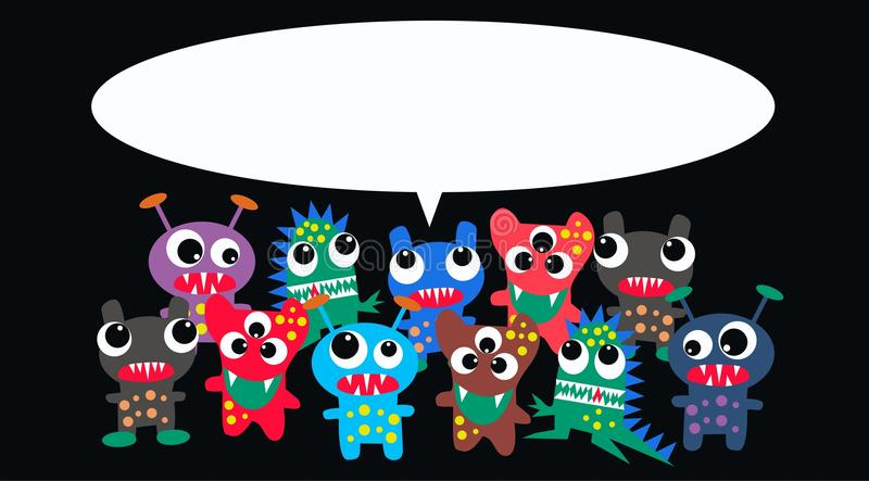 Download Monsters with a message stock vector. Image of crowd - 21435850