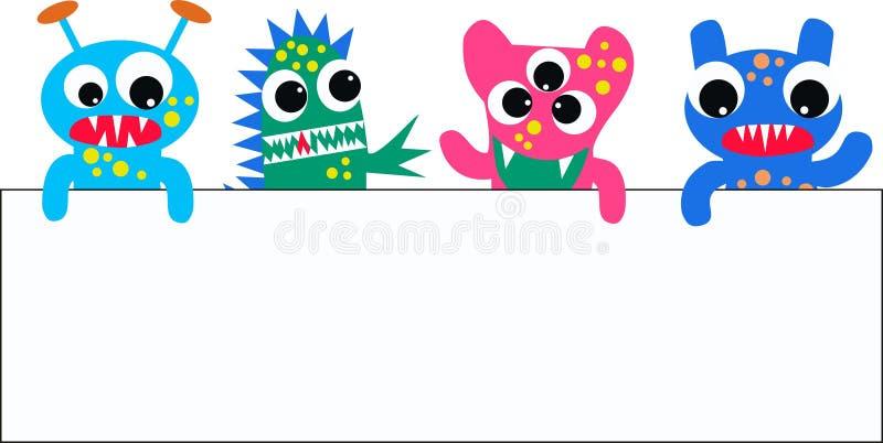 Monsters met een aanplakbiljet vector illustratie