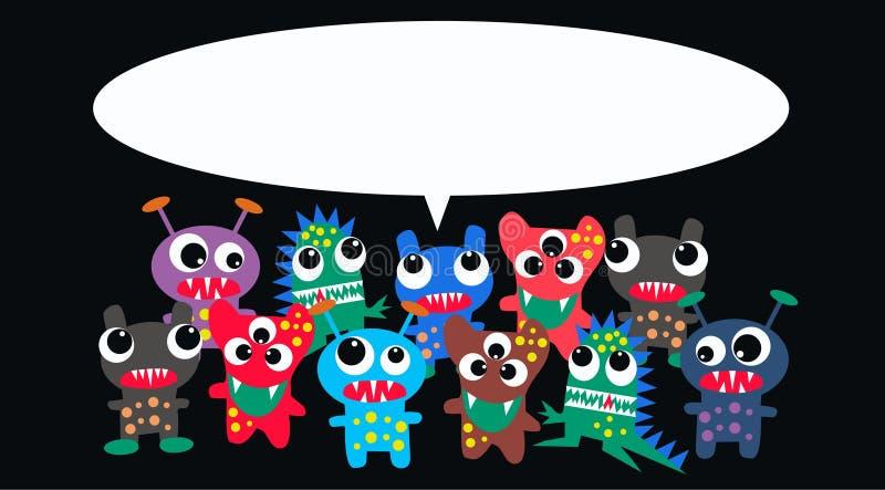 Monsters met een bericht stock illustratie