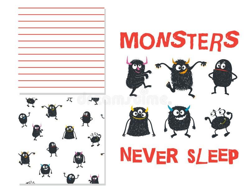 Monsters nooit slaap Oppervlakteontwerp en 2 naadloze patronen royalty-vrije illustratie
