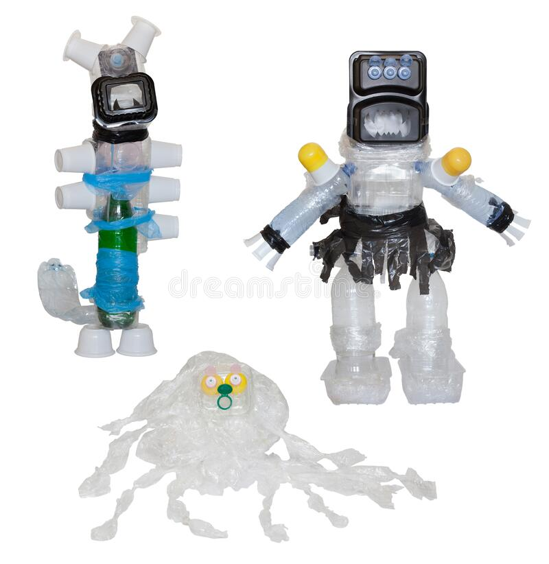 Monsters from plastic waste. stock image
