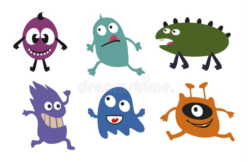 monsters Reeks grappige monsters animatie Vector illustratie stock illustratie