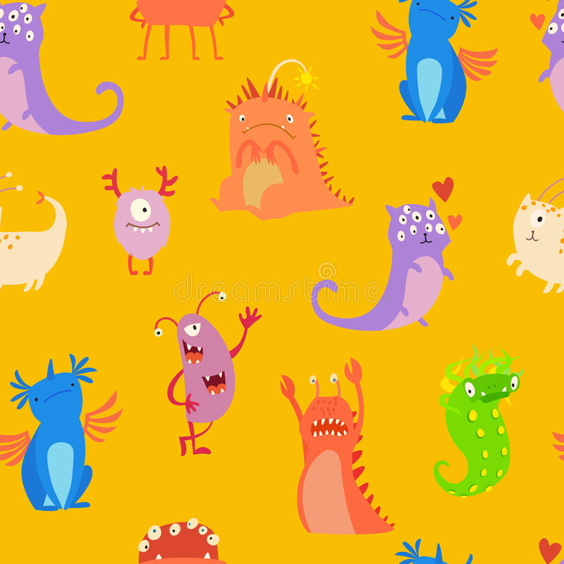 Monsters seamless pattern vector illustration vector illustration