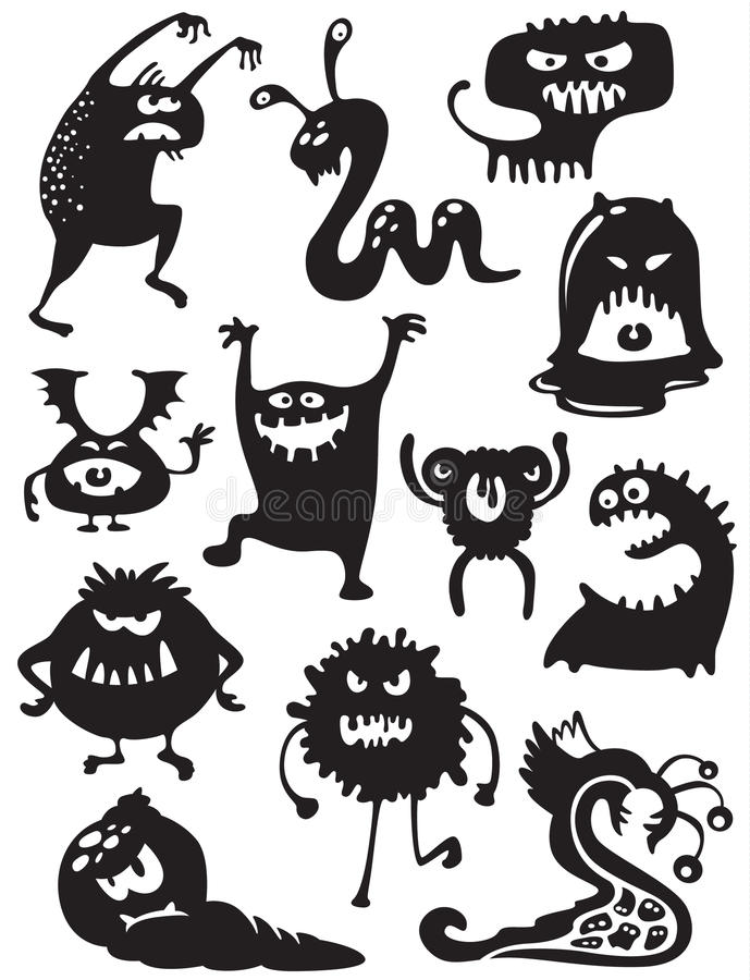 Monsters silhouettes. Silhouettes of cute doodle monsters-bacteria