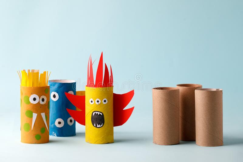Monsters from toilet tube for halloween decor. A terrible craft. School and kindergarten. Handcraft creative idea.  stock images