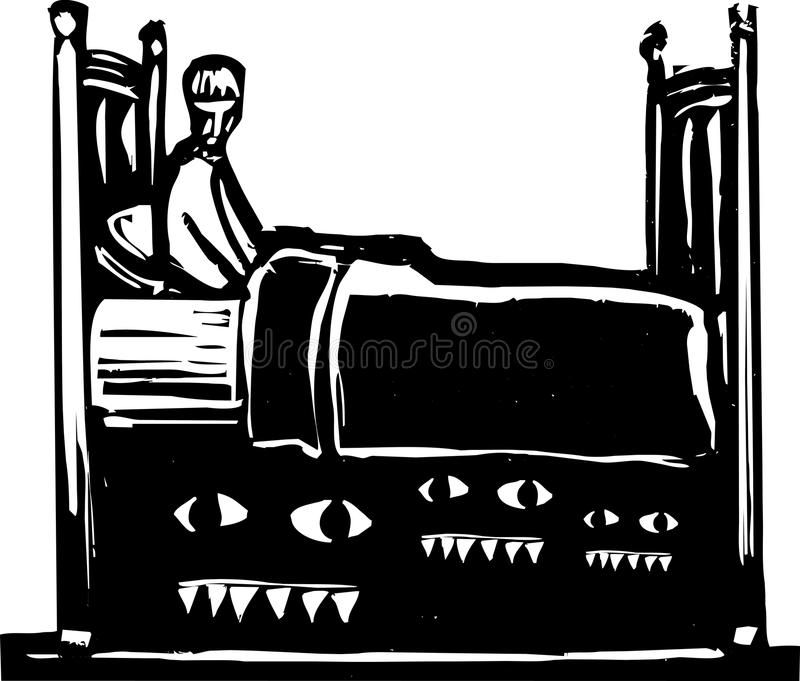 Download Monsters under bed stock vector. Illustration of woodcut - 25483157