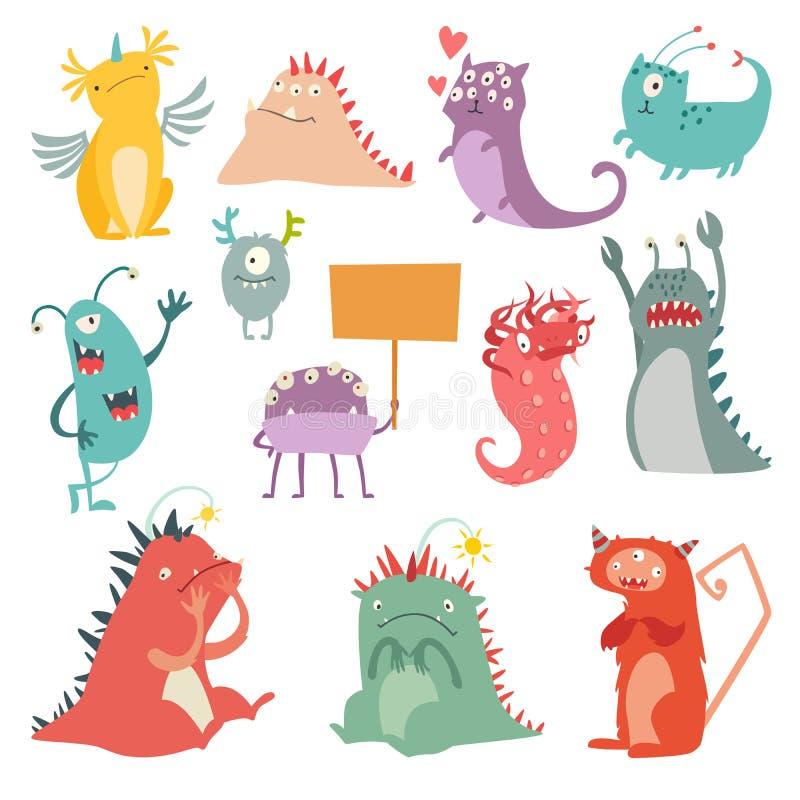 Monsters vectorreeks Het stuk speelgoed van het jonge geitjesbeeldverhaal, kleurrijk leuk karakter royalty-vrije illustratie