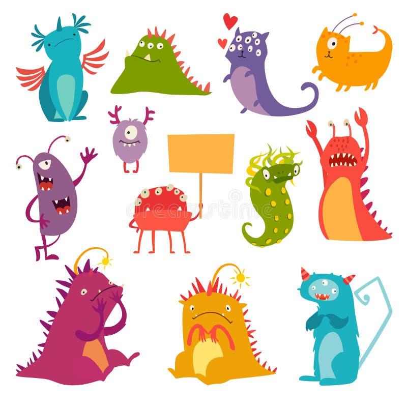 Monsters vectorreeks Het stuk speelgoed van het jonge geitjesbeeldverhaal, kleurrijk leuk karakter vector illustratie