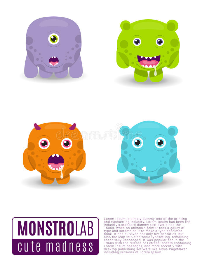 Monsters vectorreeks Leuke beeldverhaalmonsters royalty-vrije illustratie