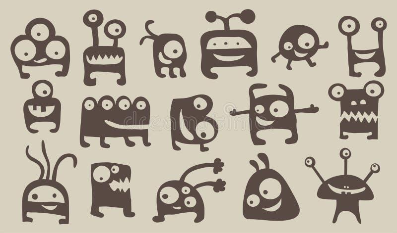 Monsterset vektor illustrationer