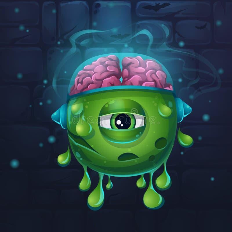 Monstertecknad filmkula med hjärnor royaltyfri illustrationer