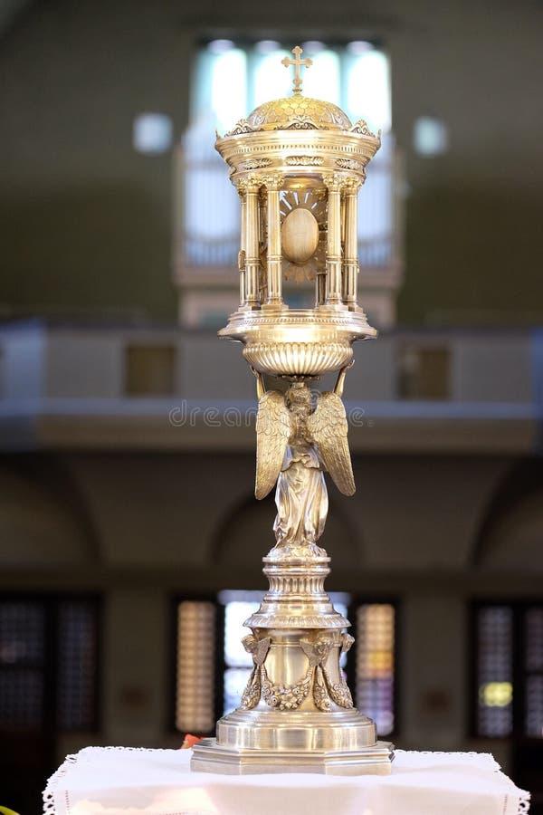 Monstranz, Kirche des Heiligen Blaise in Zagreb stockfotos