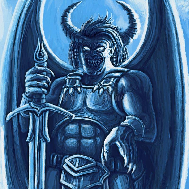 Monstre à ailes laid dans l'armure avec la grande épée illustration stock