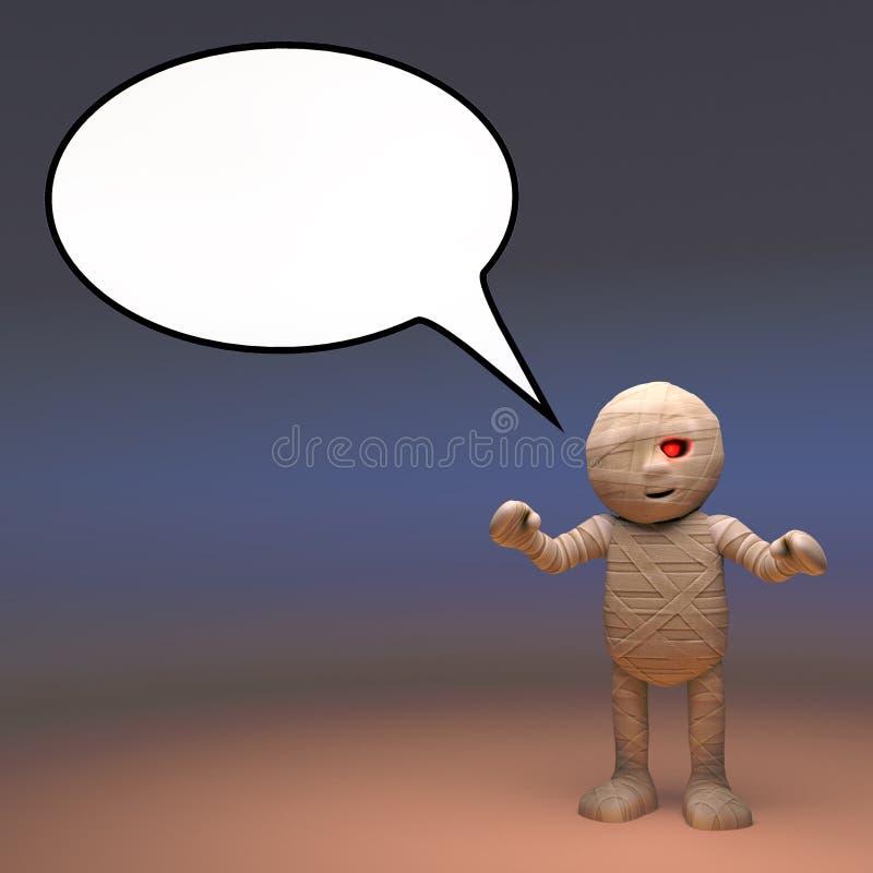 Monstre égyptien bavard de maman avec une bulle vide de la parole, illustration 3d illustration stock