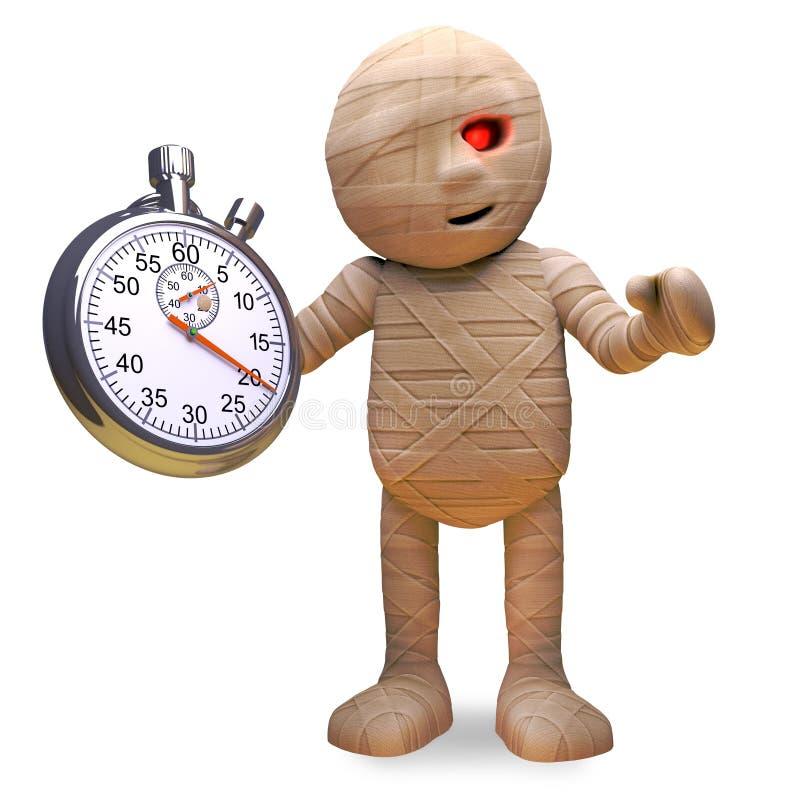 Monstre égyptien efficace de maman tenant un chronomètre, illustration 3d illustration stock
