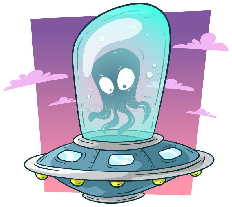 Monstre étranger mignon de bande dessinée dans le vecteur de vaisseau spatial d'UFO illustration libre de droits