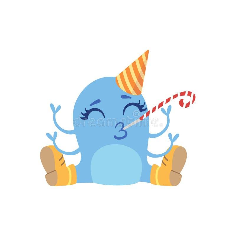 Monstre amical bleu dans les bottes et le chapeau illustration de vecteur
