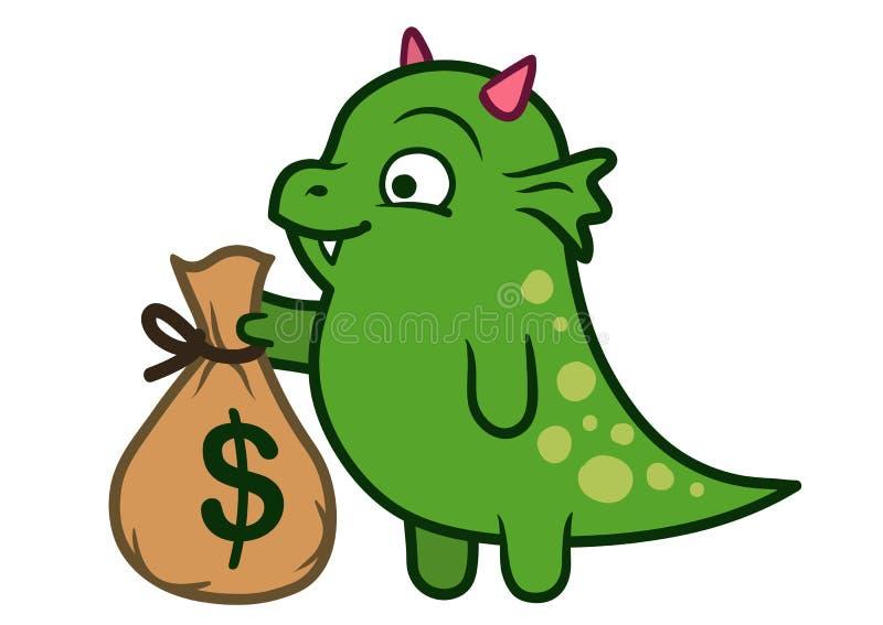 Monstre amical mignon de dragon vert tenant le sac d'argent illustration de vecteur