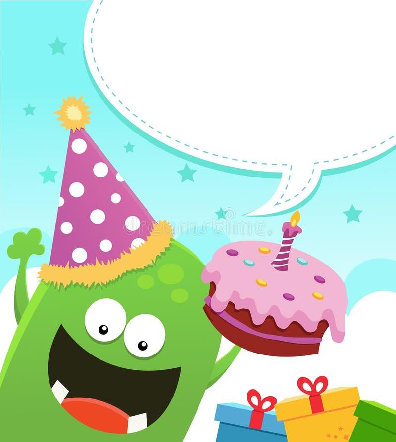 Monstre avec le gâteau d'anniversaire illustration de vecteur