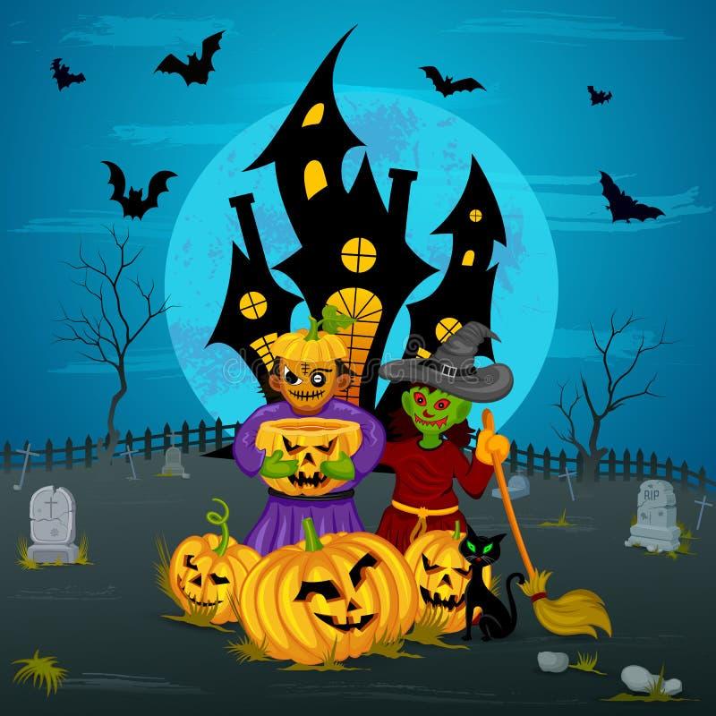 Monstre avec le potiron dans la nuit de Halloween illustration libre de droits