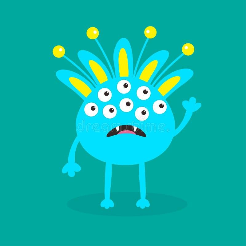 Monstre bleu avec les oreilles, la dent de croc et les klaxons Personnage de dessin animé mignon drôle Collection de bébé Carte h illustration de vecteur