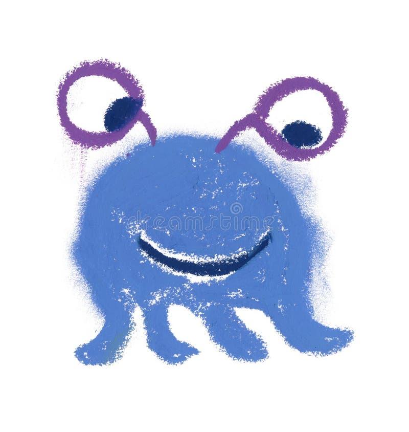 Monstre bleu mignon et petit de la pâte peinte à la main d'huile illustration stock