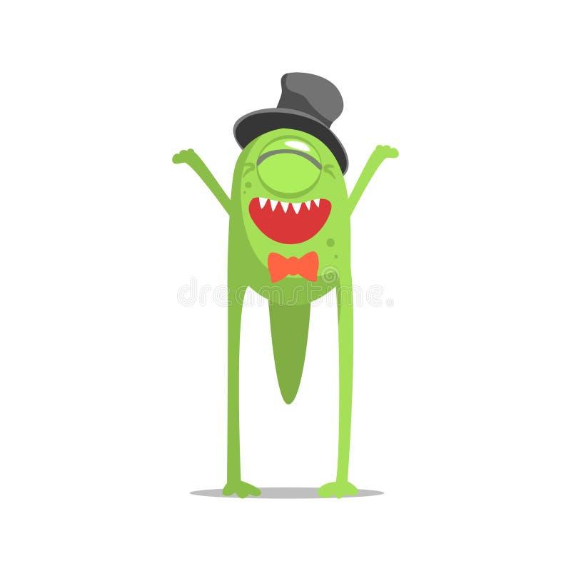 Monstre borgne vert heureux dans le chapeau supérieur et le noeud papillon faisant la fête dur en tant qu'invité à l'illustration illustration stock