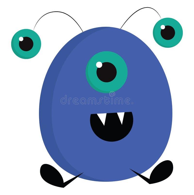 Monstre d'ovak bleu souriant avec trois yeux illustration vectorielle illustration stock