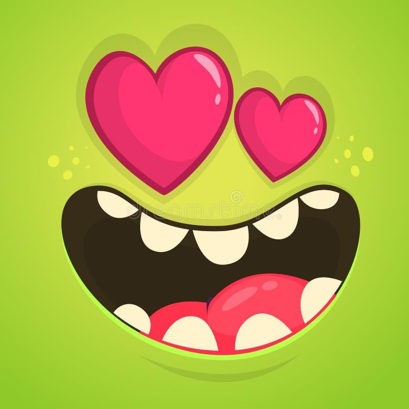 Monstre de bande dessinée dans l'amour avec yeux en forme de coeur Dirigez l'avatar vert de monstre de Halloween pour le jour du  illustration de vecteur