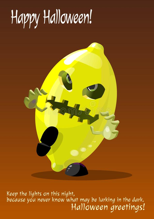 Monstre de citron de zombi Halloween image stock