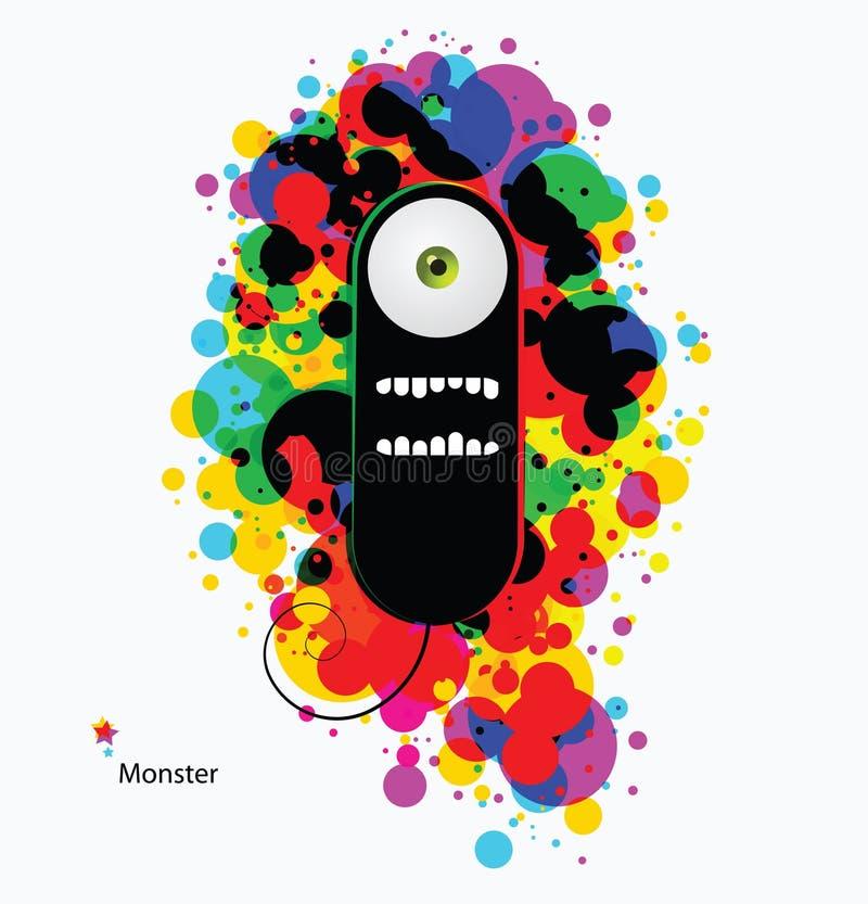 Monstre de dessin animé sur le fond abstrait de couleur d'asid illustration de vecteur
