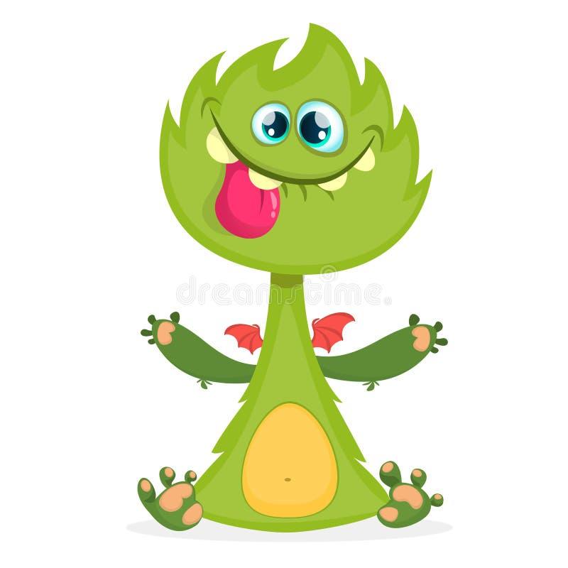 Monstre de dragon de bande dessinée avec les ailes minuscules Illustration velue de vecteur de dragon vert Conception de Hallowee illustration stock