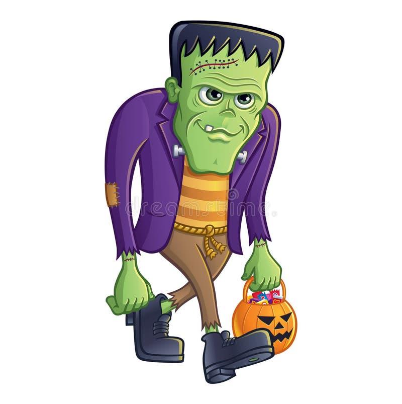 Monstre de Frankenstein marchant avec le seau de potiron illustration stock