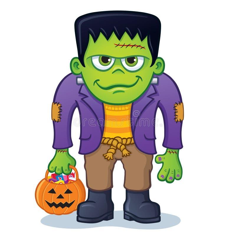 Monstre de Frankenstein tenant le seau de potiron illustration stock