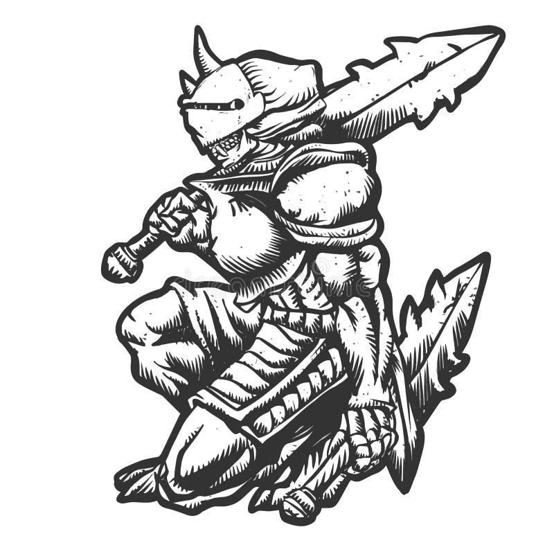 Monstre de guerrier avec l'illustration d'armure illustration stock