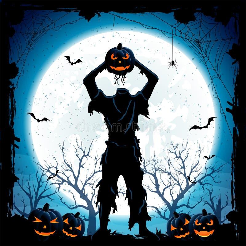 Monstre de Halloween avec la tête du potiron illustration libre de droits