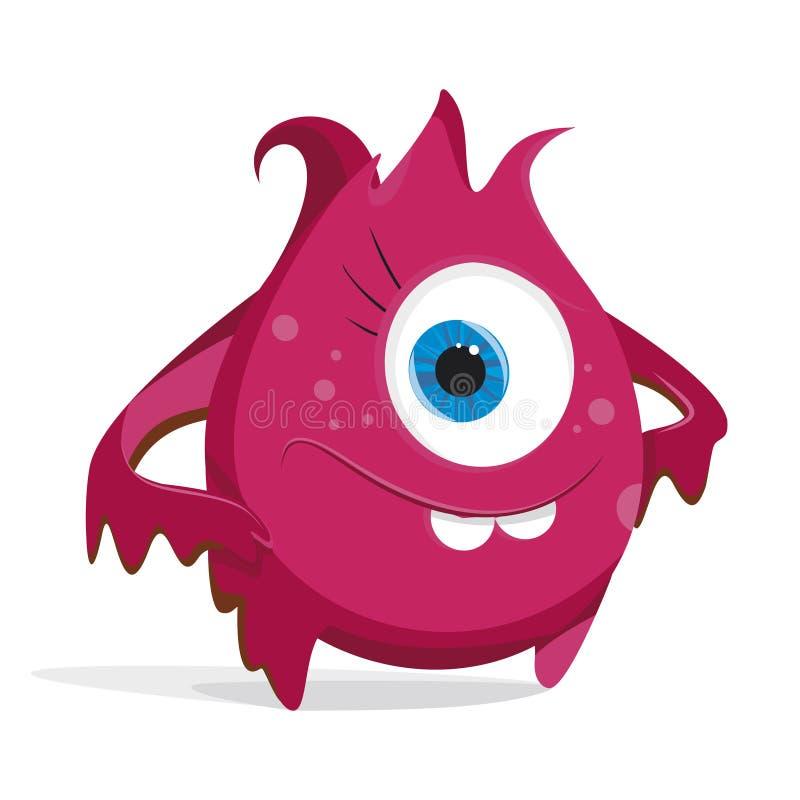 Monstre de rouge de bande dessinée Bactéries avec de grands yeux, dents, mains, pieds Micro-organisme sur un fond blanc illustration libre de droits