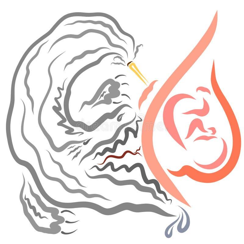 Monstre des attaques de fumée de cigarette l'enfant dans l'utérus d'une mère de tabagisme illustration libre de droits