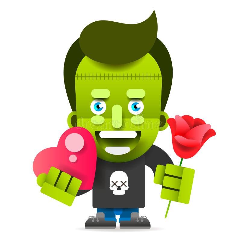 Monstre drôle avec les fleurs et la bande dessinée de coeur Le petit monstre pu?ril dr?le heureux f?licite illustration de vecteur