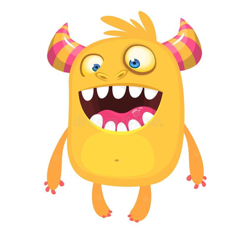 Monstre drôle de dessin animé Monstre d'orange de Halloween de vecteur Grand ensemble de monstres de bande dessinée illustration libre de droits