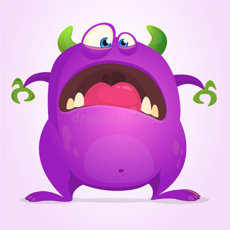 Monstre drôle effrayé de bande dessinée Illustration de vecteur de Halloween de caractère pourpre de monstre Concevez pour des dé illustration de vecteur