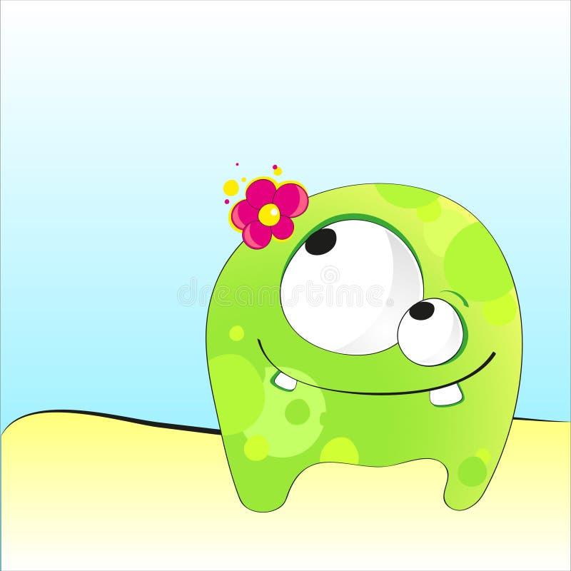 Monstre drôle vert de dessin animé illustration stock