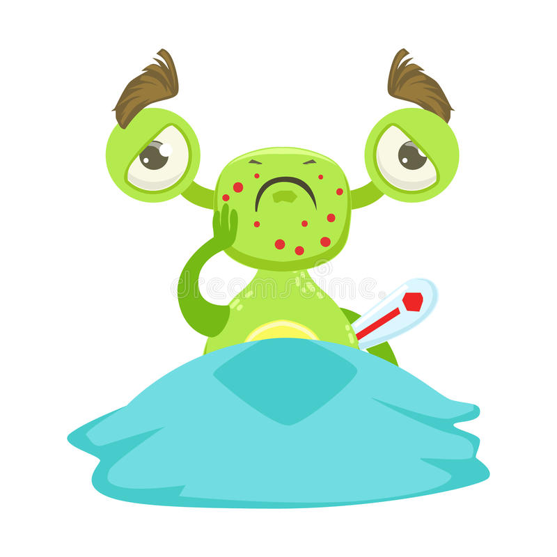 Monstre drôle malade avec la fièvre dans le lit, autocollant vert de personnage de dessin animé d'Emoji d'étranger illustration stock